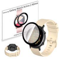 Pasek sportowy opaska i szkło 3D do Samsung Galaxy Watch Active 2 40mm beżowy