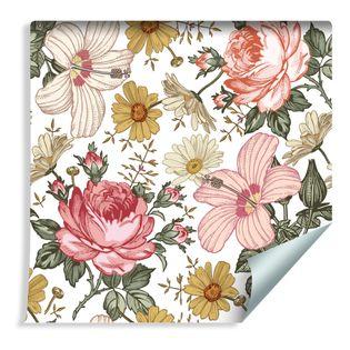 Tapeta Piękne Róże Hibiskus Rumianek Kwiaty Liście do Sypialni