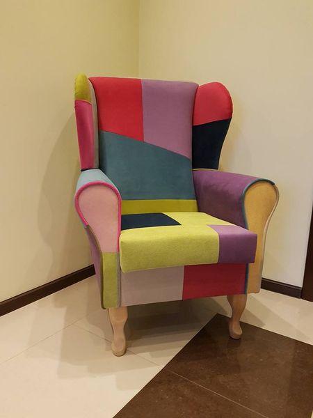 Fotel uszak różowy gładki zdjęcie 4