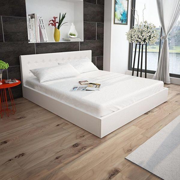 łóżko Rama łóżka Skórzana Z Materacem Memory I Pojemnikiem 160x200cm Białe