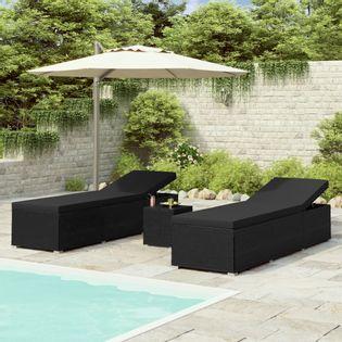 3-częściowy zestaw leżaki ze stolikiem polirattan czarne