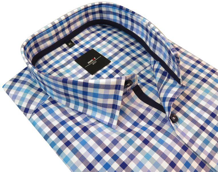 69dcfd2e260d3c Koszula męska z krótkim rękawem w błękitno-niebieską kratkę 190 Rozmiar  koszuli i fason -