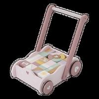Little Dutch Wózek PCHACZ z klockami Róż - Różowy || Miętowy