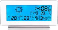 Stacja pogody BIOWIN 250102 biała podświetlana z pomiarem wilgotności zegarem i budzikiem