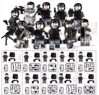 figurki klocki SWAT Police 10szt + karta lego zPL