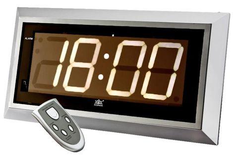 XONIX 4001 Duży zegar kwarcowy, zasilany sieciowo, sterowany pilotem, drzemka, szerokość ok. 43 cm