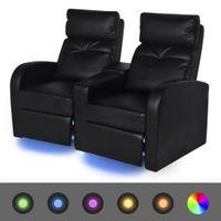 Fotele kinowe 2 osobowe, czarna, sztuczna skóra z podświetleniem LED