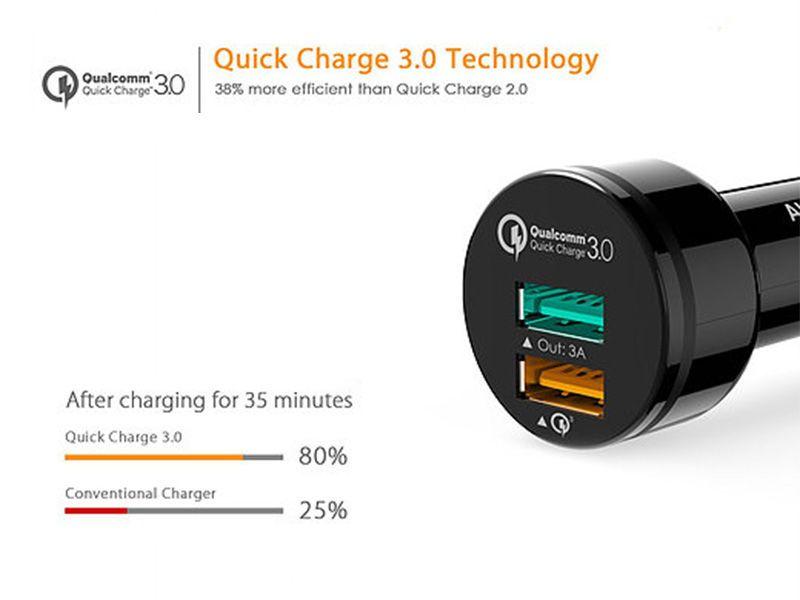 Ładowarka samochodowa AUKEY CC-T7 Quick Charge 3.0 +kabel USB zdjęcie 4