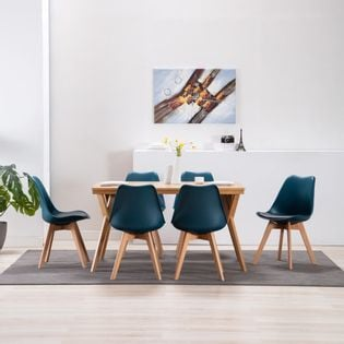 Lumarko Krzesła stołowe, 6 szt., turkusowo-czarne, sztuczna skóra