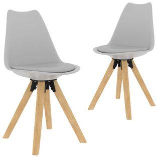 Krzesła stołowe, 2 szt., szare, PP i lite drewno bukowe