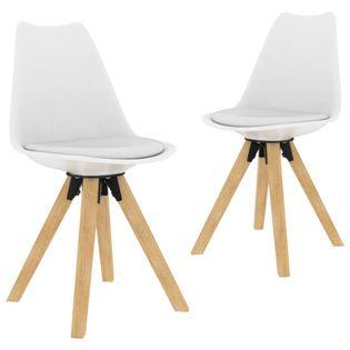 Krzesła stołowe, 2 szt., białe, PP i lite drewno bukowe