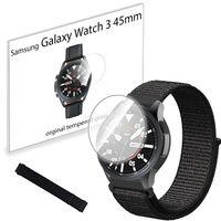Pasek nylonowy opaska i szkło hartowane do Samsung Galaxy Watch 3 45mm Black