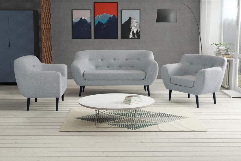Sofa FINKA 3 PIK kanapa skandynawska vintage retro szara prl RIBES zdjęcie 2