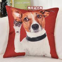 Poszewka na poduszkę - Kotki i Pieski Piesek na czerwonym tle 45x45cm