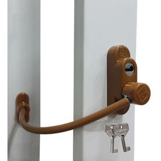 Zadbaj o dobre zabezpieczenie okien Blokada okna na kluczyk jasny brąz