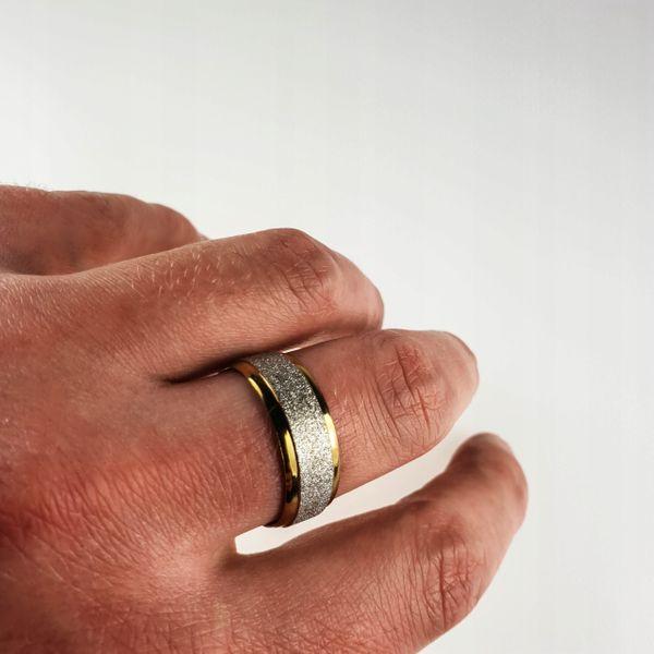Złota obrączka sygnet pierścień srebrny brokat na Arena.pl