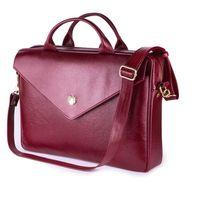 Felice damska skórzana torba na laptopa burgundowa