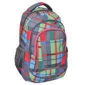 Plecak szkolny młodzieżowy szary w kolorową kratę (158090A)