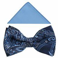 Granatowo-błękitna muszka męska we wzór - paisley A367