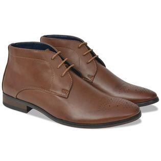 Męskie sznurowane buty, brązowe, rozmiar 43, skóra sztuczna