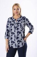 Wzorzysta bluzka o koszulowym kroju z guzikami na biuście - Multikolor 52