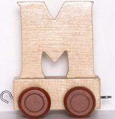 Wagonik z literką M - LITERKA element z układanki ALFABET POCIĄG