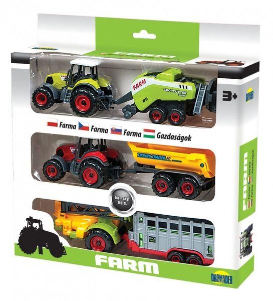 Dromader Trzy Traktory z przyczepami w pudełku zdjęcie 1