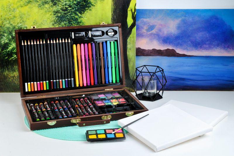 Mega Zestaw Malowania Rysowania Walizka Farby 81el 6072 zdjęcie 2
