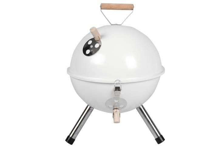 Grill ogrodowy węglowy okrągły, mini grill bbq kolor biały zdjęcie 1