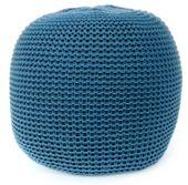 Dziergana Pufa do Salonu Fiord Dark Blue Niebieska 65 cm Handmade