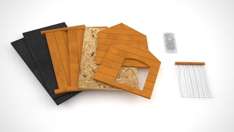 Różne kolory drewniana ocieplana buda dla psa XL solidna 60KG +kurtyna zdjęcie 8