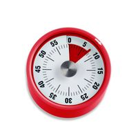 minutnik mechaniczny, do 59 minut, śred. 6 x 3,5 cm, czerwony