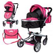 2w1 Wózek dla lalek głęboki gondola i spacerówka z torbą Y243