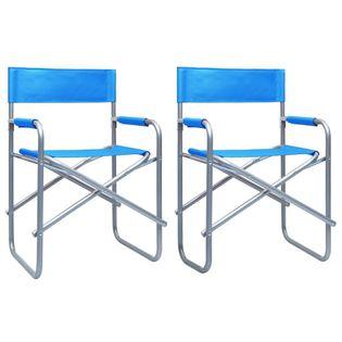 Lumarko Krzesła reżyserskie, 2 szt., stalowe, niebieskie