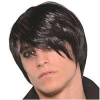 PERUKA EMO ROCK punk strój CZARNE włosy z grzywką