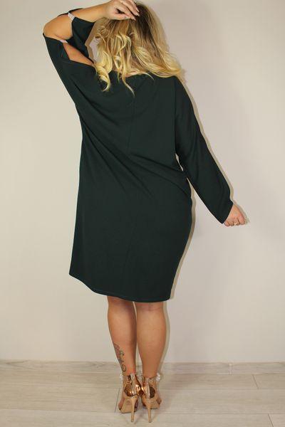 90c1eebee2 Sukienka SALMA rozcięte rękawki kryształki butelkowa zieleń 52 zdjęcie 4
