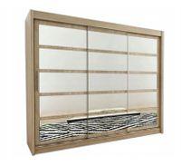 Szafa przesuwna garderoba ROMA 2-250 z lustrem biała wenge sonoma
