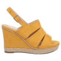 Sandałki na koturnie żółte 9069 Yellow r.41