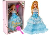 Lalka Jasnowłosa Księżniczka Niebieska Suknia Szczotka 28 Cm