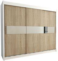 Szafa przesuwna garderoba Hawana 3-250 z lustrem biała wenge sonoma