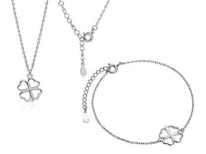 Delikatny rodowany srebrny komplet celebrytka koniczynka lucky srebro 925 Z1701Z