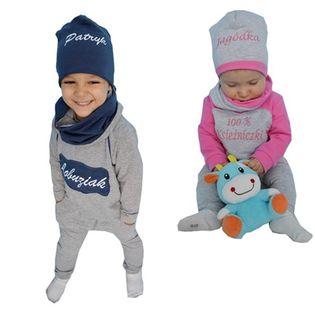Dres dziecięcy z haftem imieniem + komin + czapka