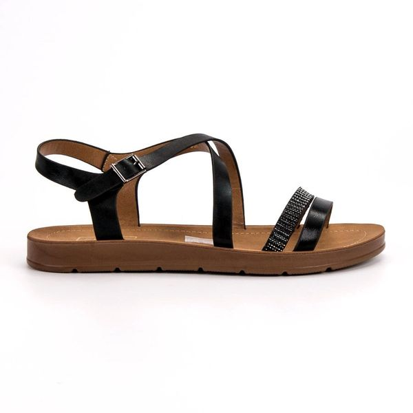 Czarne Sandały Z Kryształkami r.38 zdjęcie 1