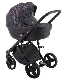 Czarny z ciemnym wzorem Comfort Galaxy wózek dziecięcy wielofunkcyjny LONEX 3w1