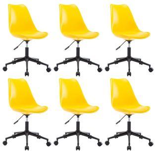 Obrotowe krzesła jadalniane, 6 szt., żółte, sztuczna skóra