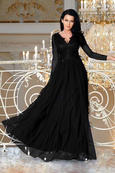 3503d88037 Sukienka MAXI z długim rekawem i koronką - STAR - czarna Rozmiar - S  zdjęcie 1