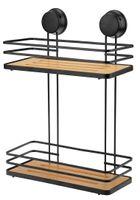 Regał łazienkowy prostokątny 2 półki z przyssawkami MAXIM czarny mat bambus bezinwazyjny bez wiercenia