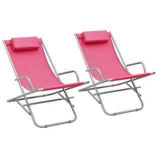 Lumarko Bujane krzesła, 2 szt., stal, różowe