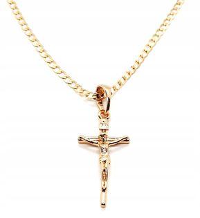 Łańcuszek Z Krzyżem Stal Chirurgiczna 50 Cm Złoty