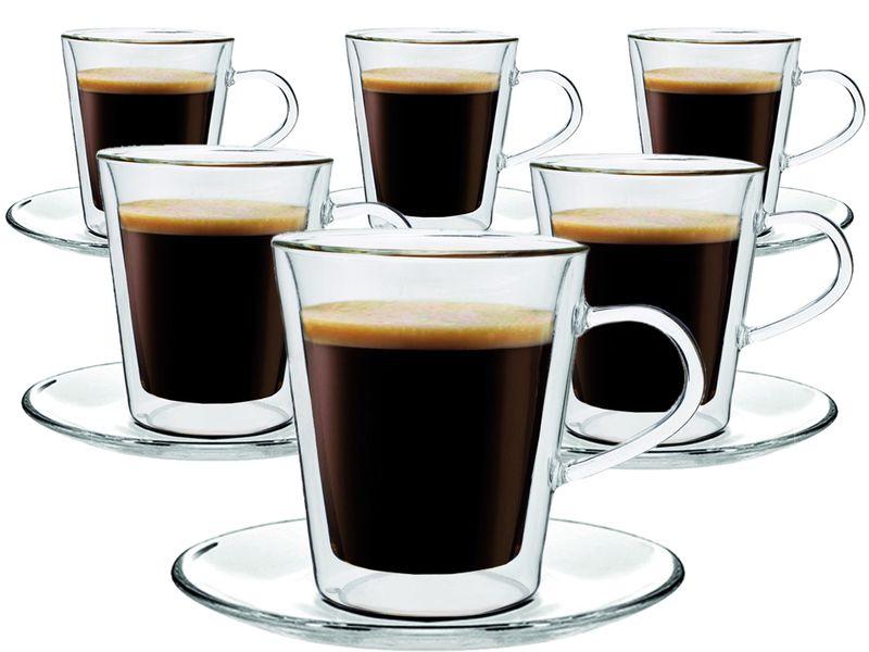 Zestaw Szklanek Termicznych Kawy Herbaty Lungo 220ml 6 sztuk + Spodki zdjęcie 1